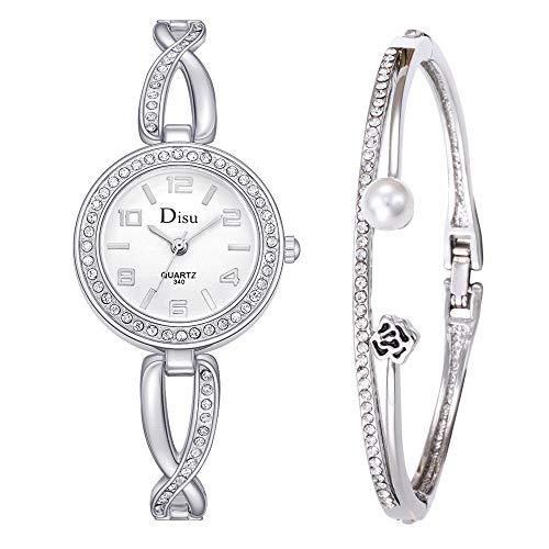 (Women's Mens Watch, Thing-ning Women's Bangle Watch and Bracelet Set,Luxury Lady Temperament Watch Rose Pearl Bracelet Set Chain Watch Birthday Gift (C))