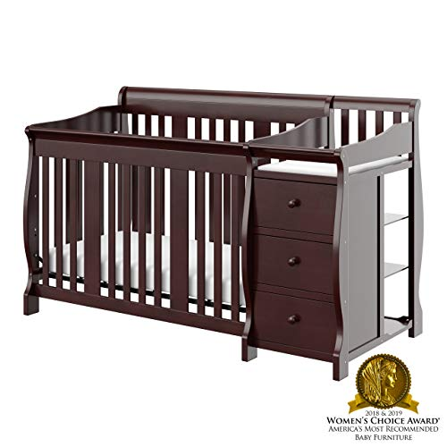 Storkcraft Portofino 4-in-1 Fixed Side Convertible Crib and Changer, Espresso, Easily Converts to Toddler Bed Day Bed or Full Bed, Three Position Adjustable Height Mattress (Mattress Not Included) (Child Of Mine Crib And Changing Table Combo)