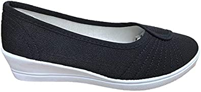 Ladies Slip On Casual Flat Canvas Summer Shoes Pumps Stitch Detail Size UK 3-8