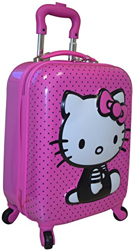 "Hasbro Hello Kitty Girl's 18"" Hardside 3D Spinner Carry On Luggage"