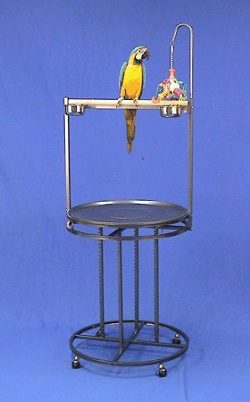 Mauna Loa Lookout Bird Playstand - 28''W X 60''H - Black Vein by BirdCages4Less