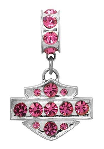 (Harley-Davidson .925 Silver Pink Crystal Ride Bead Pendant)