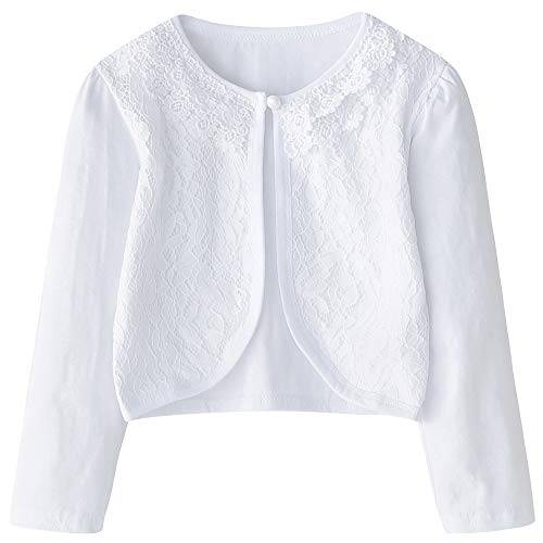 (CHENXIN Girls Shrug Knit Long/Short Sleeve Lace Bolero Cardigan Shrug (White 1, 2-3T))