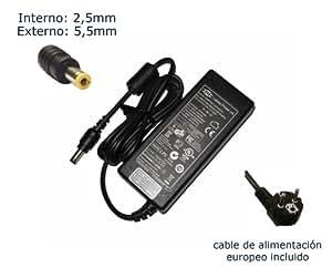 "Cargador de portátil Packard Bell ALP-AJAX C3 ALP-T19 ADP64 ADP-60NH Alimentación, adaptador, Ordenador Portatil transformador - Marca ""Laptop Power""® (12 meses de garantía y cable de alimentación europeo incluido)"