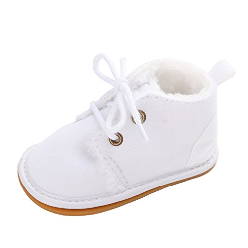 Annnowl Baby Boots Winter Training Warm Shoes 0-18 Months (12-18 Months, White)