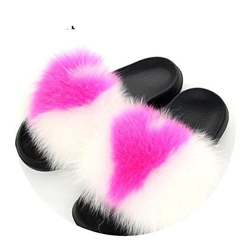 Fur Slippers Flat Non-Slip Fox Hair Slippers Slippers Mixed Colors -