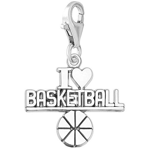 Rembrandt Charms I Love Basketball Charm with Lobster Clasp, 14k White Gold 14k White Gold Basketball Charm