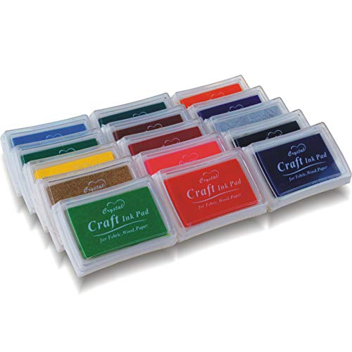 PMLAND Stamp Ink Pads for Craft, Stamp on Paper, Wood or Fabric, 15 Colors Included