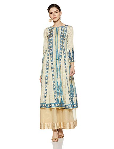 W for Woman Round Neck Printed Kurta for Women Off-White Blue