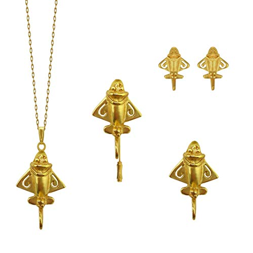Across The Puddle, Ancient Aliens Jewelry Collection, 24k Gold Plated Pre-Columbian 5 Golden Jet-Flyer Jewelry Set Bundle-1