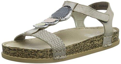 Rieker 64078 Women Open Toe, WoMen Open Toe Sandals Multicolour - Mehrfarbig (Quarz/Steel/Steel/Champignon/Rose / 40)