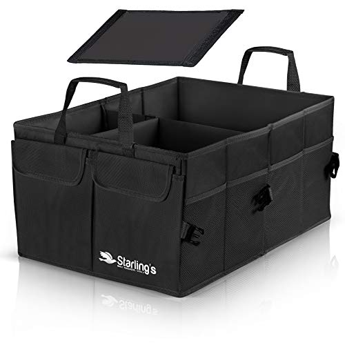 Starling's Car Trunk Organizer - Super Strong, Foldable Storage Cargo Box for SUV, Auto, Truck - Nonslip Waterproof Bottom, Fits Any Vehicle, Black