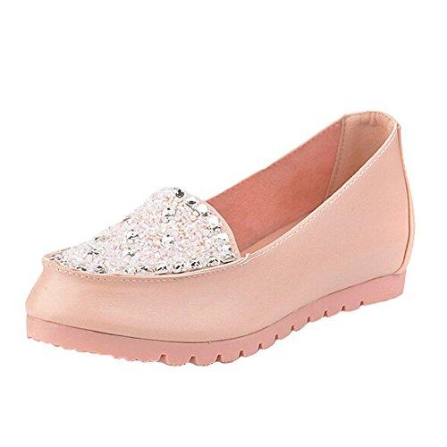 Angelliu Donna Perline Confortevole Cristallo Comodo Lavoro Doug Scarpe Fannullone Slip On Pink