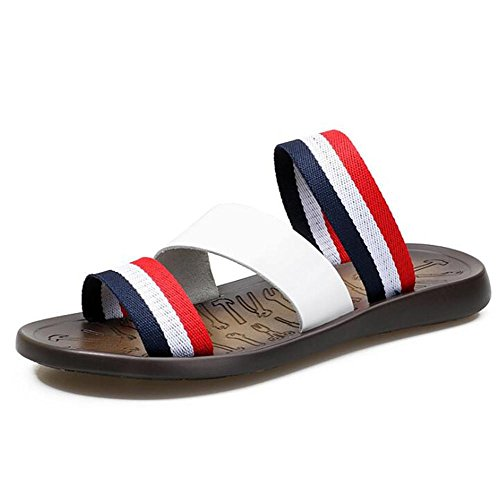 uomo a white Pantofole Infradito Toe da 38 Cuoio antiscivolo da Taglia 43 Estate Casual genuino Open Sandali Spiaggia Cinturino Scarpe 5A4qH
