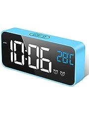 HOMVILLA digital väckarklocka med stor LED-temperaturdisplay, bordsklocka spegellarm med dubbla larm snooze tid 4 nivåer justerbar ljusstyrka dimmer 13 musik USB laddning anslutning sängbord sovrum