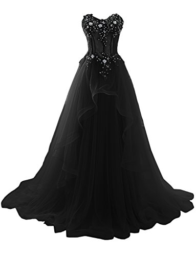 MILANO BRIDE 2017 Vogue Evening Prom Dress Strapless A-line Ruffles Applique-Custom-Made-Black]()