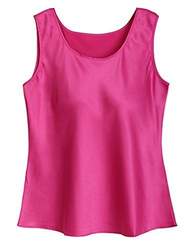 Fashion Silk Women's Blouse Silk Tank Tops XX-Lager Rose Red (Rose Lager)