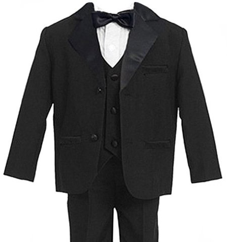 Infant Kids Baby Boys 5 Piece Deluxe Black Tuxedo Suit