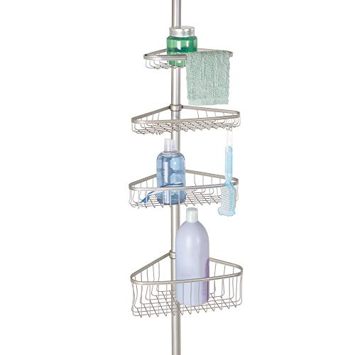 iDesign York Metal Wire Tension Rod Corner Shower Caddy, Pole, and Baskets for Shampoo, Conditioner, Soap, Adjustable 5'-9' Height, Satin Silver