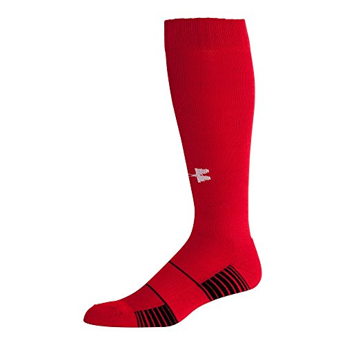Under Armour Team Over The Calf Socks, 1-Pair, Red/White, Shoe Size: 4-8