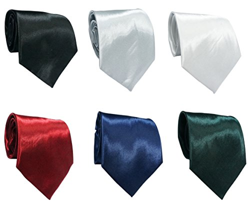 LilMents 6 Pack Mens Classic Plain Solid Color Formal Necktie Tie Set (Set A) by LilMents (Image #1)'