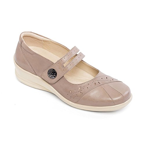 Padders Women's Leather Shoe 'Sunshine' | Dual Fit System | Wide E-EE Fit | Free Footcare UK shoehorn Taupe 8KMbd4xj