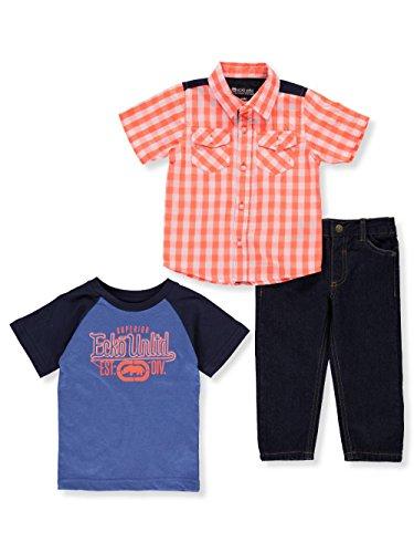 (Ecko Baby Boys 3 Piece Sport Shirt, T-Shirt, and Jean Set, Multi Plaid, 18M)