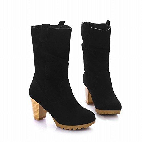 Latasa Damesmode Nubuck Koud-weer Geplooid Dikke Korte Laarzen Met Hoge Hak Zwart