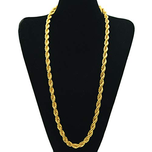 2f77f75af0c7a TUOKAY Direct 9mm Big Gold Rope Chain Necklace, Huge Sparkling 18K Gold  Rope Necklace Chain, 24