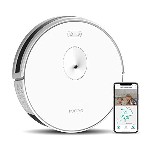 Trifo Ironpie m6 Robot Vacuum Cleaner with Visual Navigation Camera, Remote Monitoring, 1800Pa Strong Suction, Self-Charging, Wi-Fi Connectivity, Ideal for Low-Pile Carpet and Hard Floor (White)