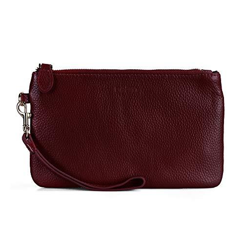 Befen Women Genuine Leather Clutch Wallet, Smartphone Wristlet Purse - Fit iPhone 8 Plus (Deep Red)