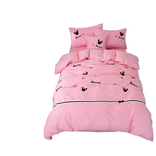 Cenarious Minnie Mouse Pink Cartoon Children Bedroom Duvet Cover Set Applique Embroidery Cotton Bed Cover - 4Pc Bedding Set - Full - 78