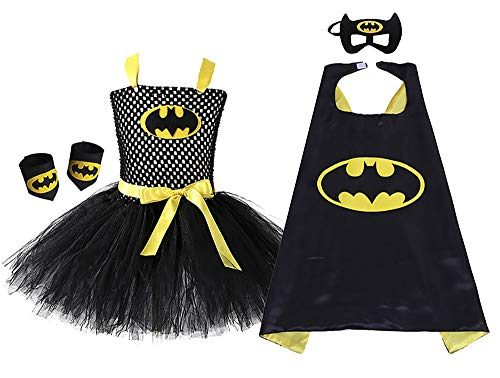 O'COCOLOUR Super Hero Tutu Dress for Girls with Batman Cape and Mask (Black, -