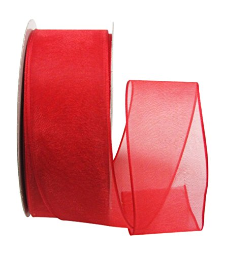 Ribbon Bazaar Wired Sheer Organza 1-1/2 inch Red 25 Yards Ribbon