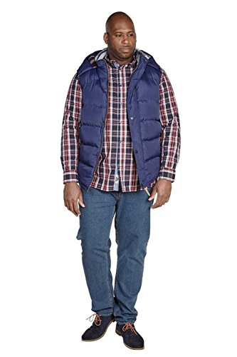 para Big amp; Tall sin acolchado chaleco acolchado capucha Puffer azul chaleco Duke hombre chaqueta mangas cremallera de mujer con chaleco marino para EqSWw8F