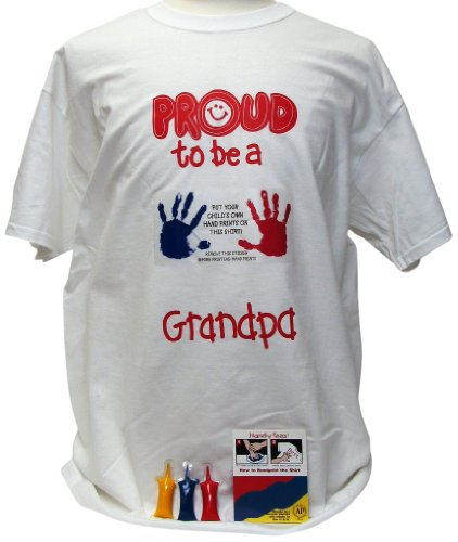 Price comparison product image Handy Tees HT 84310 Proud to be a Grandpa T-Shirt with Acrylic Paints,  XX-Large,  White