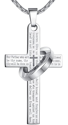 Men's Stainless Steel Lord's Prayer Cross Halo Pendant Necklace, SilverTone, 23