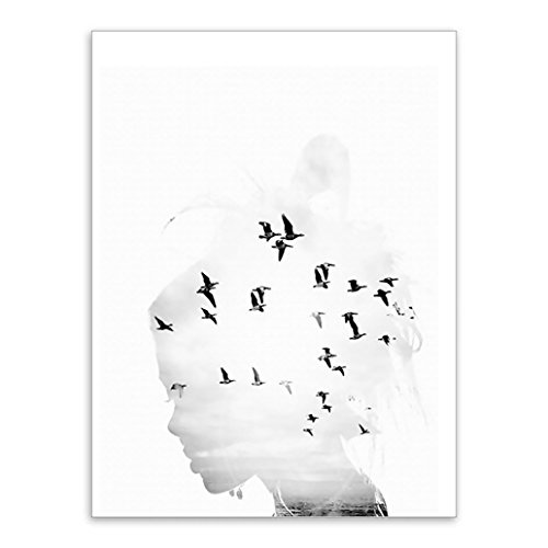Price comparison product image wintefei Modern Minimalist Silhouette of Lady Seagull Wall Art Painting Home Decoration - 50cm x 70cm