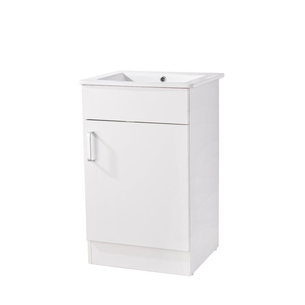 Heselian HESE002 Modern Single Bathroom Vanity with Ceramics Sink, White