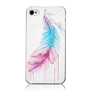 MOFY- Vivid patr-n de la pluma de aceite Marco colorido Transparente de nuevo caso para el iPhone 4/4S