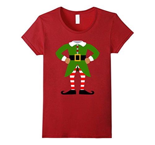 Xmas Elf Costumes (Womens ELF COSTUME Christmas Shirt | Xmas Santa Helper T-Shirt Small Cranberry)
