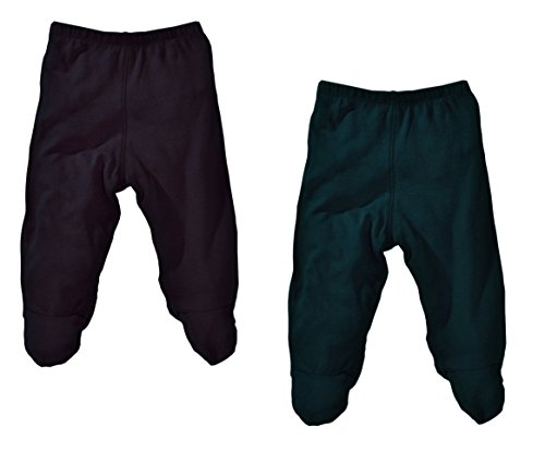 Lukeeno Organic Cotton Baby Footed Pants - 2 Pack (3-6 Months, Teal/Black) by Lukeeno