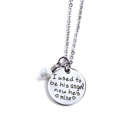 Yolanda I Used To Be His Angel Now He's Mine Grandpa Dad Memorial Necklace/Bracelet Bereavement Gift (Necklace)