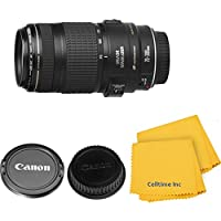 Canon EF 70-300mm f/4-5.6 IS Zoom Lens for Canon EOS 7D, 60D, EOS Rebel SL1, T1i, T2i, T3, T3i, T4i, T5i, XS, XSi, XT, XTi Digital SLR Cameras w/Celltime Cleaning Cloth