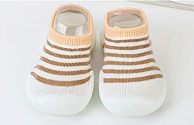Baby Summer Spring Sock Anti-Slip Shoes with Soft Rubber Soles Newborn Indoor Slipper Prewalker Flats for Unisex Girls Boys,Stripe Design