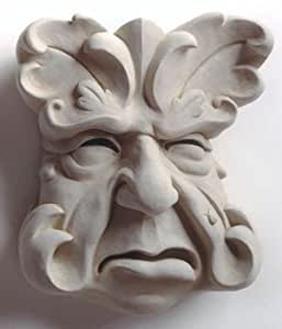 Hand Cast Stone Garden Grouch Botanical Leaf Face With Ladybug On Cheek Plaque - Concrete Indoor/Outdoor Sculpture