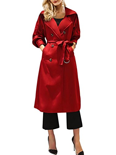 BerryGo Women's Double Breasted Belted Long Trench Coat Outwear (Long Red Trench Coat)