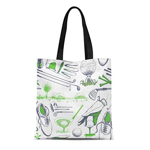 Semtomn Canvas Tote Bag Shoulder Bags White Hand Golf Basket Shoes Car Putter Ball Gloves Women's Handle Shoulder Tote Shopper Handbag