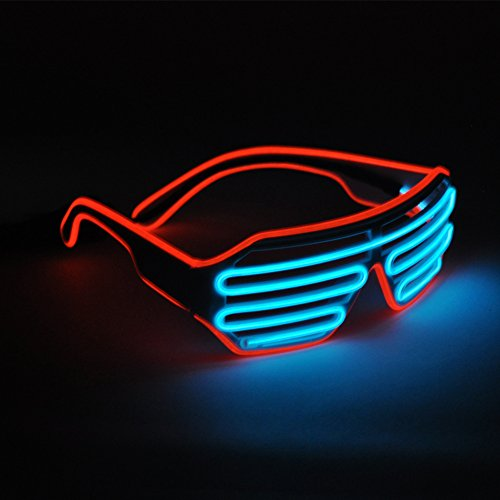 Generic EL Wire Glasses LED Rave Sunglasses Light Up Glowing Flashing Party(Red+Ice - Sunglasses Glowing
