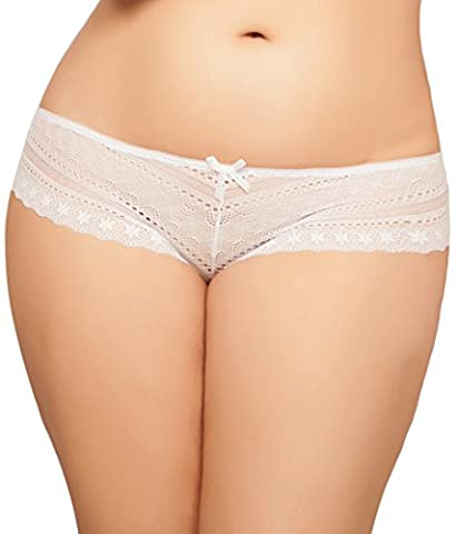 Seven Til Midnight Women's Plus-Size Tangled Lace Panty with Lace-Up Detail, White, 3X/4X - Lace Up Plus Size Panties